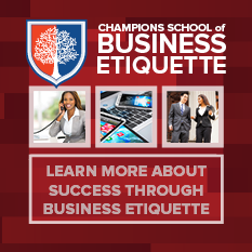 Champions School of Business Etiquette Promo Button